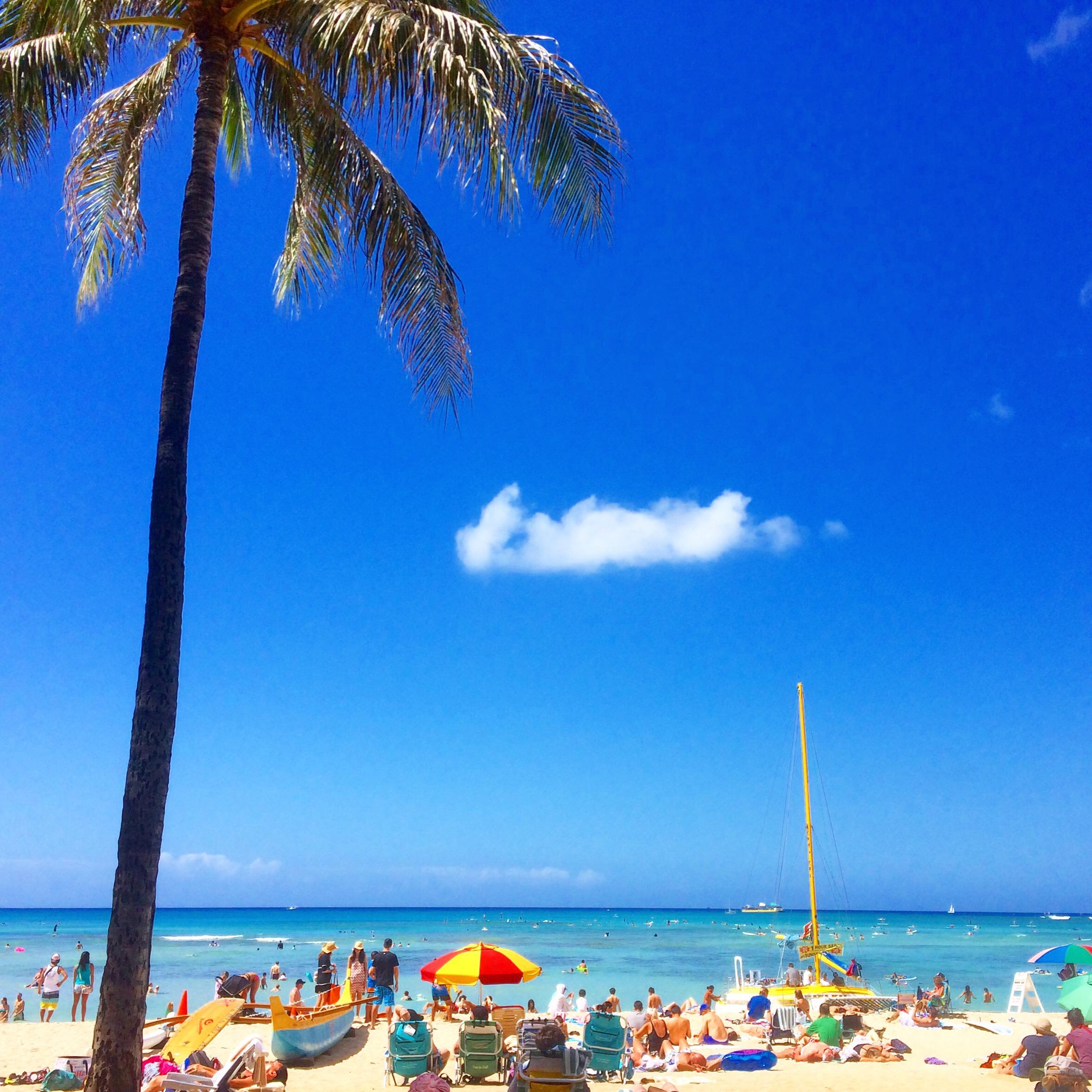 ワイキキビーチ。思い描いたまんまのハワイでした